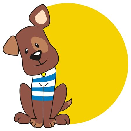 Sitting brown dog with yellow place for text, vector illustration, conceptual drawing