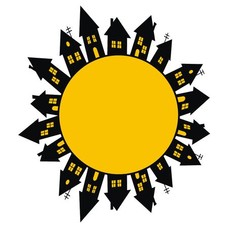 Group of black houses with yellow windows and doors, vector icon. A lot of different homes. Vector Illustration Keywords: