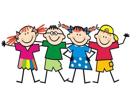 Vector Illustration Keywords: Four happy kids, girls and boys, funny color vector illustration on white background.