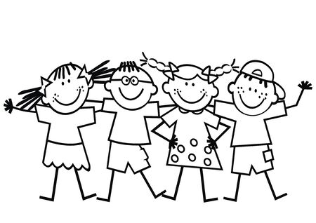 Vector Illustration Keywords: Happy kids, black and white illustration, eps. Çizim