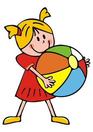 Vector Illustration Keywords: One preschool person with inflatable ball. Happy kid throws a ball.