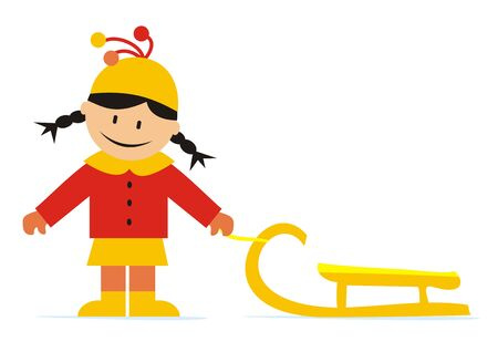 Little girl and sledge, vector illustration
