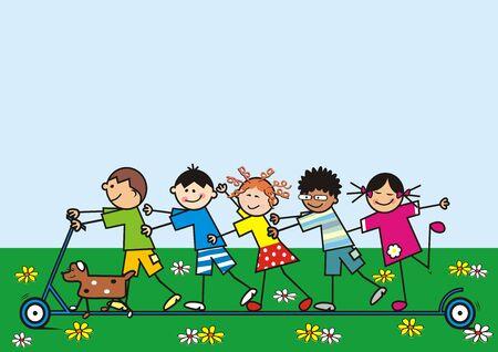 Happy children ride push scooter, vector illustration