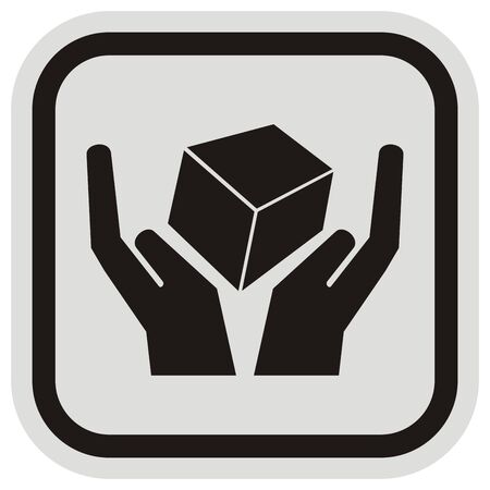 Black silhouette of hands with parcel, conceptual vector icon