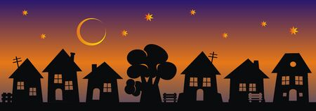 Night city, group of houses, black silhouette on rainbow background, vector illustration