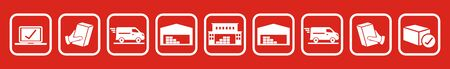 parcel transport, e-shop, vector icons, white contour on red background