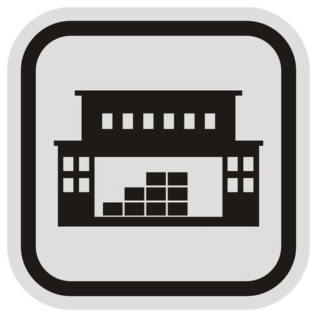 Central warehouse with office, vector icon Illustration