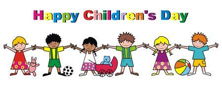 Bonne fête des enfants, illustration vectorielle