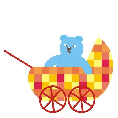 Pram and blue bear, vector illustration on white background Ilustração
