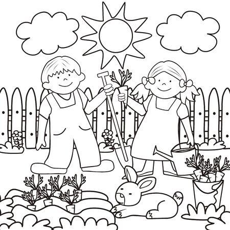 Mots-clés de l'illustration vectorielle : garçon avec pelle et fille avec pot d'eau. Livre de coloriage pour les enfants.