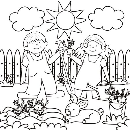Vector Illustration Keywords: Boy With Spade And Girl With Water Pot. Coloring book for children.