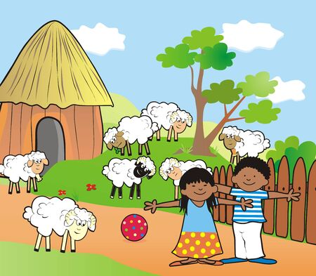African village and kids on farm, vector illustration