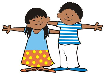 Two african children, girl and boy, vector illustration