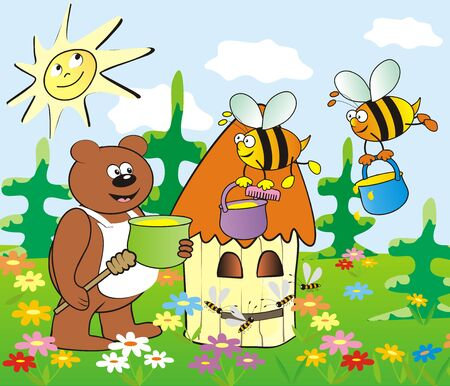 Bear, bees and hive, vector illustration. Color picture for children. Ilustracja