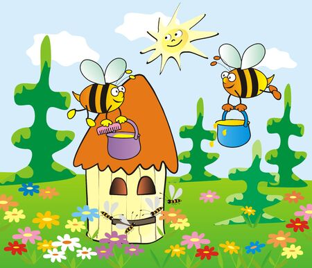 Vector Illustration Keywords: forest bees and hive, eps.
