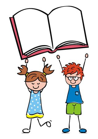 Little girl and boy with book, funny vector conceptual illustration