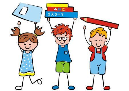 Vector Illustration Keywords: three children and school equipment