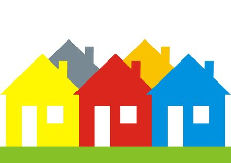 Vector Illustration Keywords: Several different colored houses.