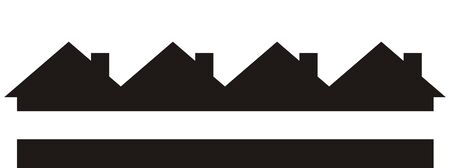 Group of houses, black silhouette, vector icon