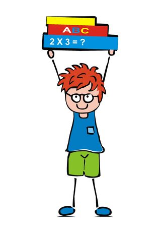School boy and books. Happy kid learning mathematics and literature. Vector Illustration Keywords: