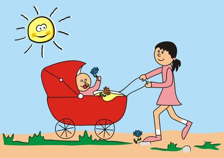 Mother with little baby - vector illustration