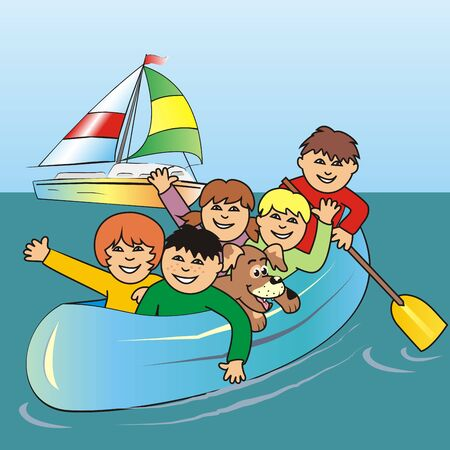 Group of children on the sea, vector illustration