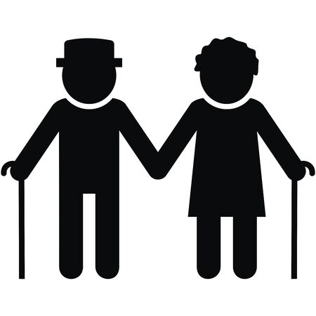 Couple of Old People, Man and Woman with Stick. Black silhouette of two person on white background.