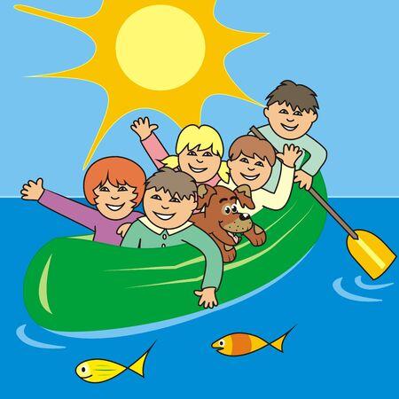 Children at canoe, sky background with sun, vector illustration Illustration