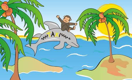 Vector Illustration Keywords: The monkey rides on a dolphin. There are islands with palm trees and sun in the background.