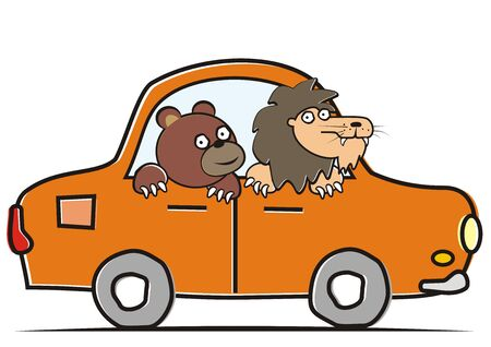 Bear and lion driving car. Vector Illustration Keywords: