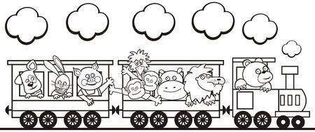 Vector Illustration Keywords: Dog, hare, pig, monkeys, ostrich, hippo, lion and bear at steam strain. Coloring book for children.