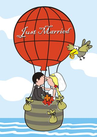 Just Married, Young Couple Flying in Balloon. In the background is the sea and sky. Vector Illustration Keywords: