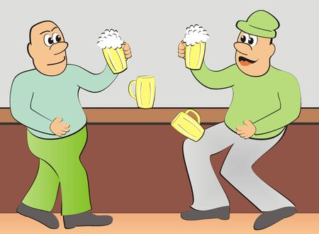 Two men and beer, funny illustration Çizim
