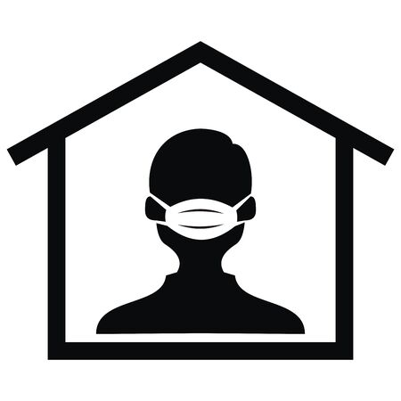 Person In Respirator, Black Silhouette Of Man At House, Vector Icon