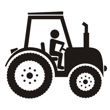 Vector Illustration Keywords: At tractor sit one person. Black pictogram on 일러스트