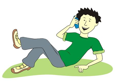 Teenager and cell phone, vector illustration
