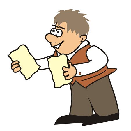 Vector Illustration Keywords: man and leaflet Stock Illustratie