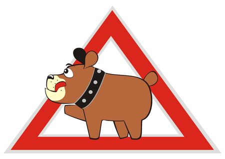 Dog in car, traffic sign, red triangle shape, vector icon 版權商用圖片 - 143523653