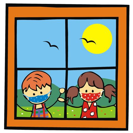 Little children with respirators outside the window, vector illustration Illustration