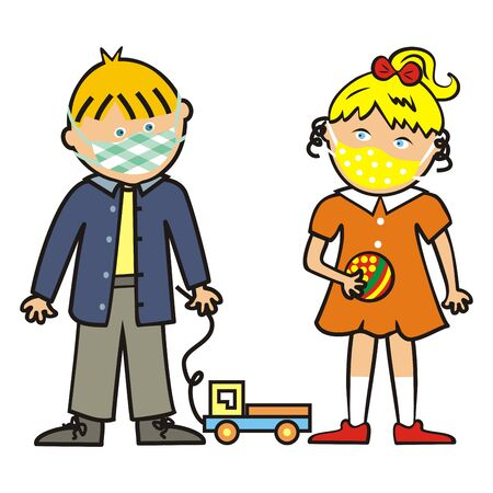 Two children playing with toy, boy and girl in protective mask. Vector Illustration Keywords: Vector Illustration