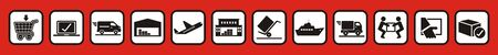 Package tracking online purchase, web vector icons, black and white colors on red background, buttons