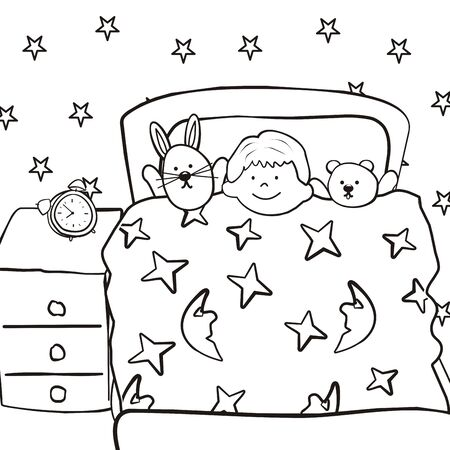 Nursery boy in bed coloring book vector icon Stock Illustratie
