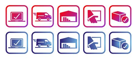 e-shop, set of rainbow icons, vector illustration, red and blue colors
