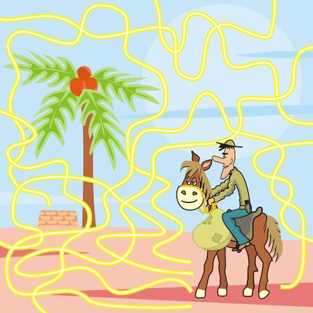 Maze, horse and cowboy on desert with palm and well, vector illustration