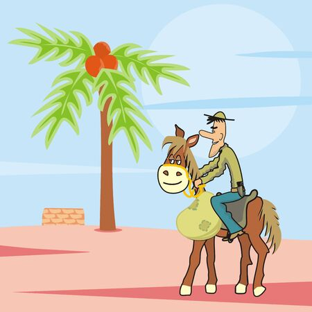 cowboy with horse in desert, vector illustration