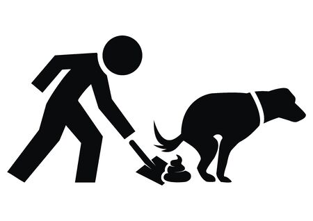 Collect poop from your dog. Person with shovel on secrement. Black vector illustration.