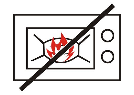 no drying or heating in the microwave, danger of ignition, vector icon,