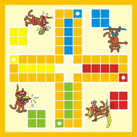 Game, board game for children, cat, vector funny illustration