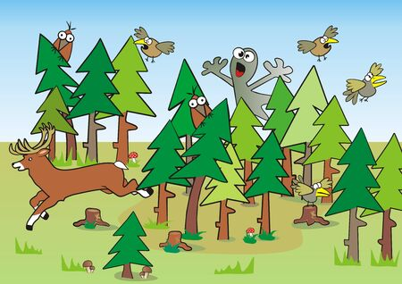 Haunted forest, animals and ghost, funny vector illustration