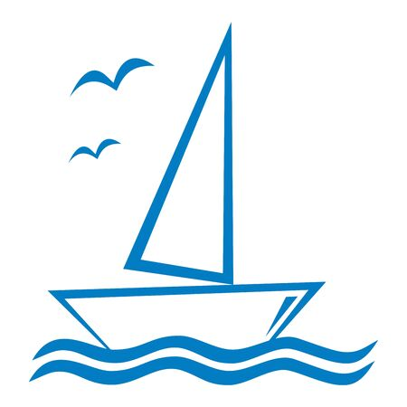 sailboat on the waves with birds, vector icon
